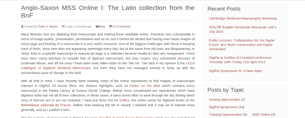 Blog discussions about palaeography